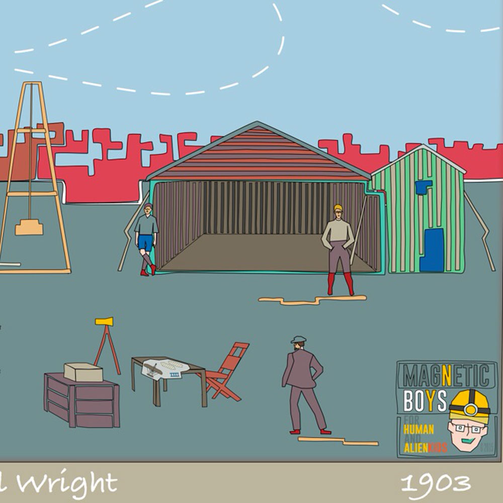 Afternoon with Wilbur and Orville Wright 1903, first flight - Magnetic Boys